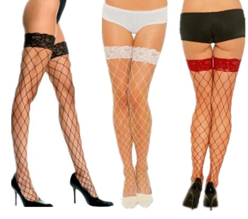 Sexy Big Mesh Stockings Women Lace Top Sheer Stay Up Thigh High Stockings Ladies Black White Red Nylon Fishnet Pantyhose