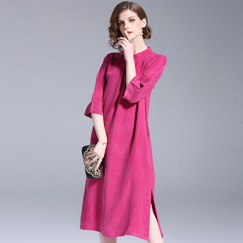 Femmes Taille rouge Mince Fglac Extra Plus Robes Pourpre Dames Lady Littéraires La Style Tempérament Élégant Élégante Chinois Robe dtrhQs