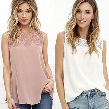 Fashion Women Chiffon Lace Blouse Tops Plus Size Sleeveless White Pink Vest Shirt Blouse Casual Tops Women Clothes Xl Xxl Xxl стоимость