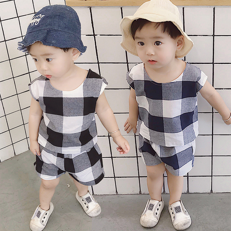 Boys Summer time Garments Set Korean Type Child Ladies Plaid Clothes Set Youngsters Cotton Linen Brief Sleeve Tees+Shorts 2pcs Fits Clothes Units, Low cost Clothes Units, Boys Summer time...