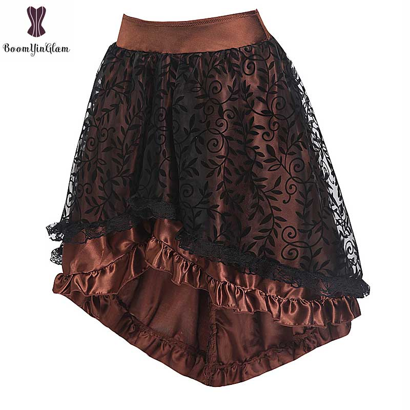 Steampunk Gothic Vintage Skirt Lace Floral Elastic Waist Corset Skirt Wedding Party Asymmetrical Petticoat Wholesale Price 937