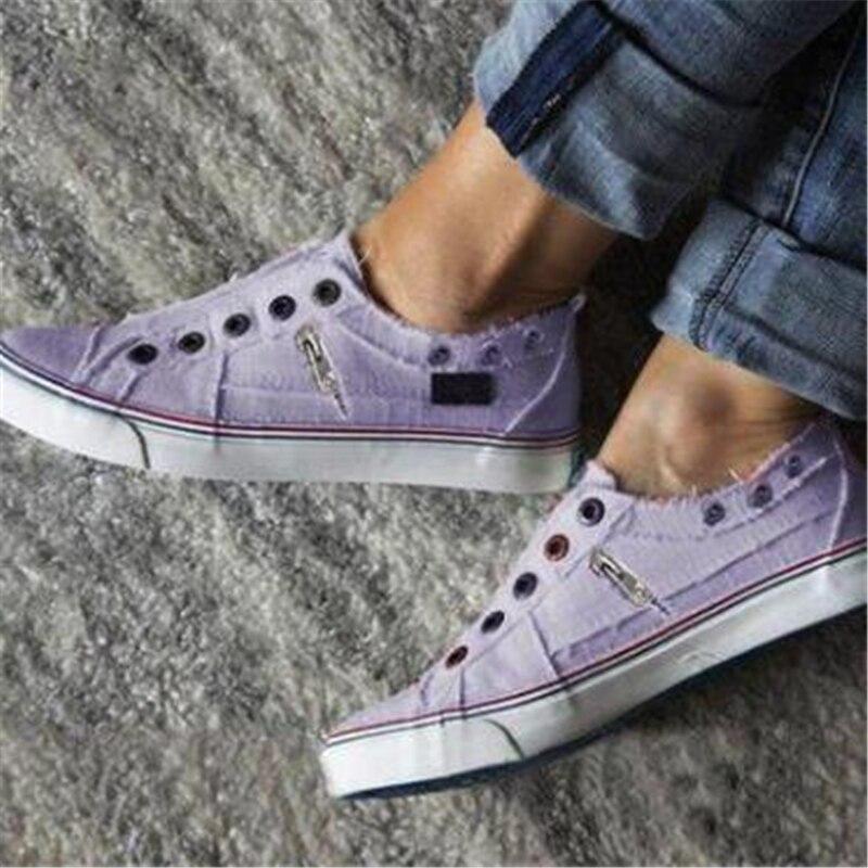 2019 Fashion Women Sneakers Denim Casual Shoes Female Summer Canvas Shoes Trainers Ladies single shoes Tenis Feminino 5