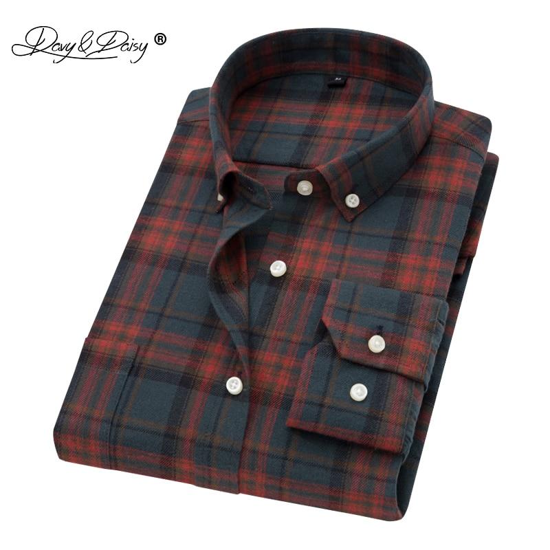 DAVYDAISY High Quality Flannel Print Men Shirt Turn Down Collar Long Sleeved Classical Plaid Casual Male Shirt DS147