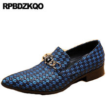 Real Leather Blue Runway Rhinestone Plus Size Party Metal Genuine Men Shoes  Italian High Quality 46 Brand Pointed Toe Luxury dca68bf493ff