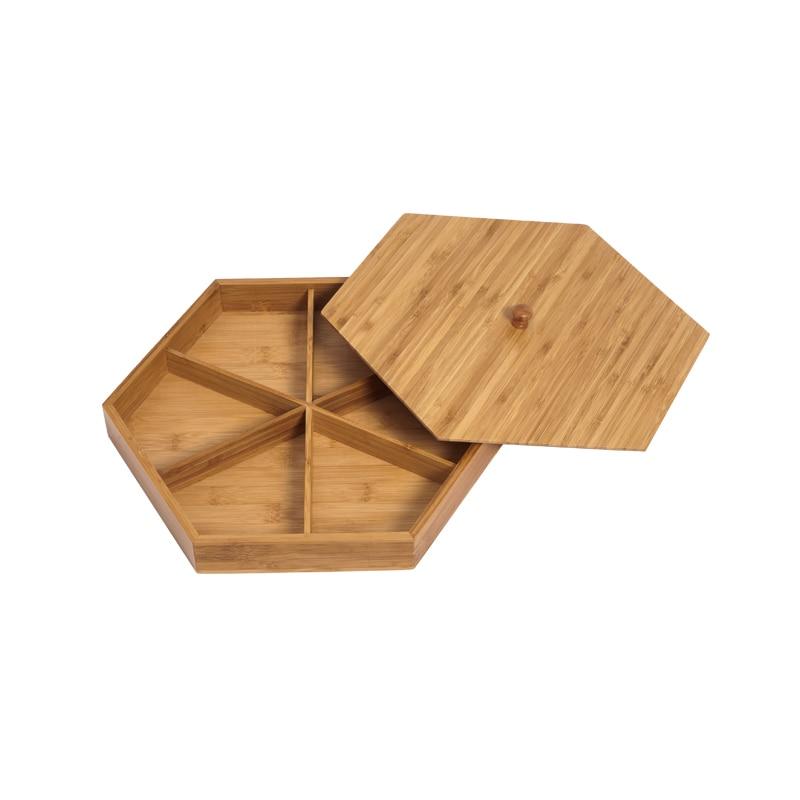 Natural de bambu prato de frutas secas partição com tampa criativo sala de estar simples bandeja de doces sementes de melão lanche bandeja prato - 5