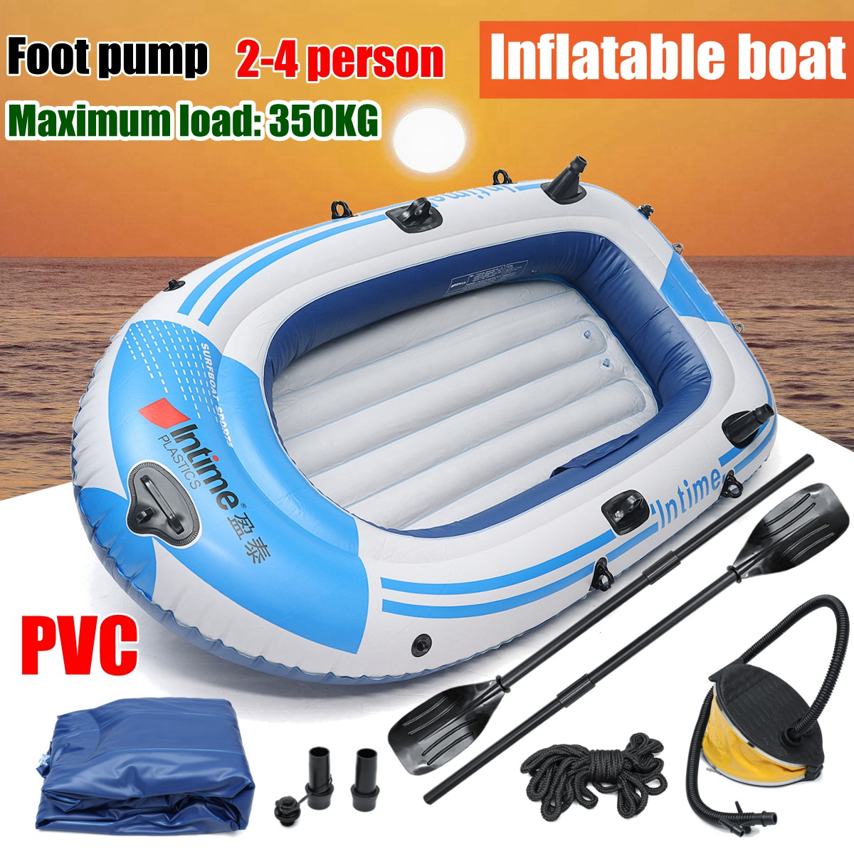 цена на fishman Sports Inflatable Fishing Boat Raft PVC Canoe Dinghy Tender 2/3/4 Person Kayak Fishing Boats Cushion Rowing Boats