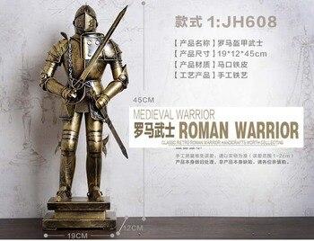 45CM LARGE # 2020 NEW GIFT TOP COOL fashion office home shop bar decorative art Retro Iron Roman armor Warrior art statue-JS608