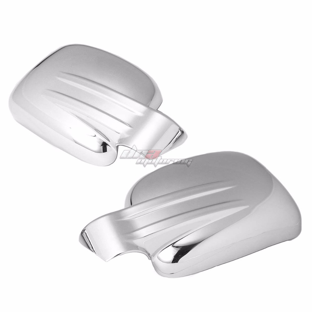 XYIVYG 02-07 FOR JEEP LIBERTY KJ 4DR CHROME PLATED SIDE MIRROR FULL COVER PAIR TRIM CAP nitro triple chrome plated abs mirror 4 door handle cover combo