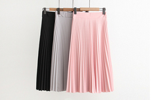 2018 spring all-match chiffon skirt waist fold slim pleated Department summer SK100