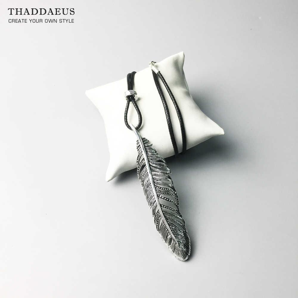 Naszyjnik ze skóry z piór łańcuch linowy, 2017 Ts 925 Sterling Silver Trendy moda biżuteria Thomas Style Bijoux prezent dla mężczyzn