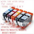 5pcs Free shipping PGI 725 CLI 726  ink cartridge For canon PIXMA IP4870/IP4970 IX6560 MG5160/MG5270/MG5370 /MX887/MX897 printer