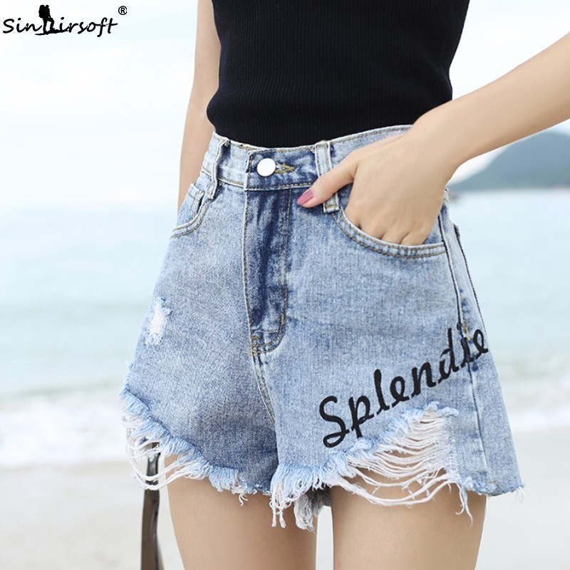 High Waist Denim Shorts Women Casual Loose Hole Letter Print Jean Shors Female Irregular Burr Ripped Short Blue Summer New 2019 in Shorts from Women 39 s Clothing