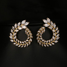 New Sparkling Clear AAA Cubic Zirconia Stud Earrings Women Jewelry High Quality Olive Leaf Shape Earring For Birthday Gift E-009 co e olive