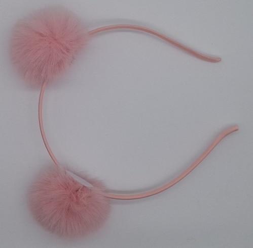 New Lovely Sweet Pom Fur Ball Furry Ears Fluffy Rabbit Fur Ball Women Headband