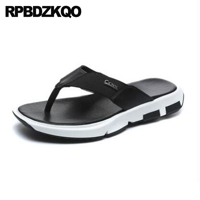 Slippers Mens Sandals 2018 Summer Outdoor Fashion Flat Leather Flip Flop Beach Open Toe Black Slides Men Shoes Slip On Casual