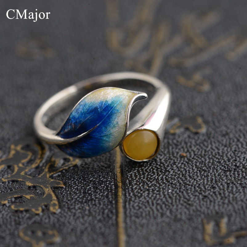 CMajor Natural yellow stone ring sterling silver jewelry exquisite leaf open ring for women free shipping