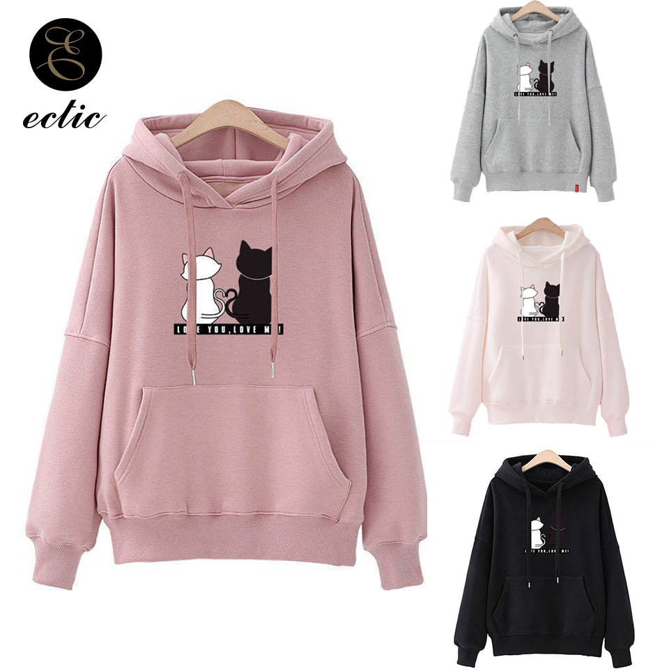 Winter Pullover Sweatshirts Women Cat Kawaii Poleron Mujer 2020 Kangaroo Pocket Hoodie School Korean Streetwear Oversized Hoodie