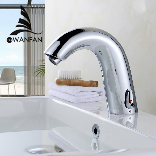 Basin Faucets Sensor Automatic infrared Bathroom Sink Faucet Touchless Inductive Electric Deck Toilet Wash Mixer Water Tap 8906 copper infrared intelligent automatic induction type single tap faucet wash