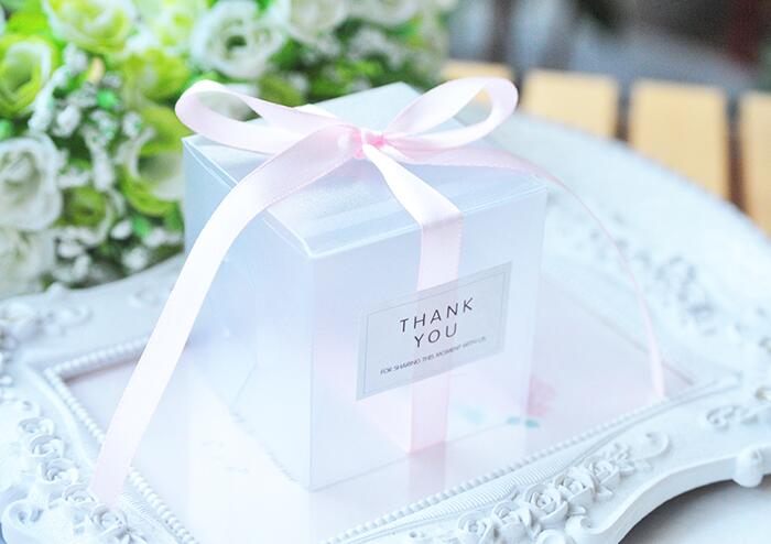 5x5x5cm PVC Clear Candy Boxes Wedding Decorations Party Supplies Gift Box Baby Shown Favors Candy Box With Ribbon