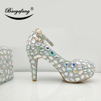 BaoYaFang New AB crystal wedding shoes with macthing bags Bride Party heel shoes woman 9cm Block heel Ladies platform shoes bags