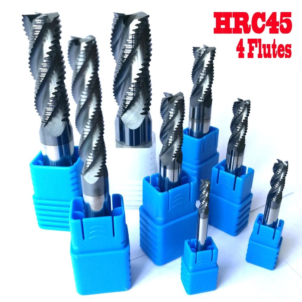 Фрезерные фрезы HRC45, 4 мм 6 мм 8 мм 10 мм 12 мм 14 мм 16 мм 20 мм 4 флейты