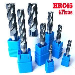 Image 1 - 4mm 6mm 8mm 10mm 12mm 14mm 16mm 20mm 4 fluiten HRC45 voorbewerken Frezen frezen CNC Carbide frezen frezen