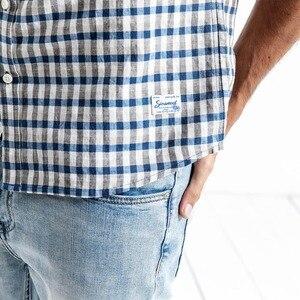 Image 4 - SIMWOOD dorywczo koszula mężczyzn marki pościel 2020 wiosna moda Streetwear z długim rękawem kratę koszule męskie Camisa Masculina 190174