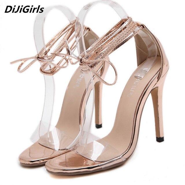 8986f4dc4d5760 Femmes dentelle up or sandales bandage Romain haute talons Pompes femmes  talon mince transparent sandales femme