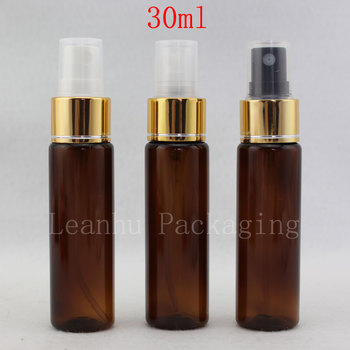 30ML Brown PET Bottle With Perfume Spray Pump,Empty Cosmetic Containers,Astringent Toner Makeup Bottles,Mini Sample Container