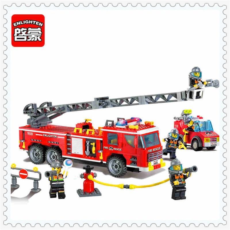 ENLIGHTEN 908 Fire Truck Fireman Fire Rescue Building Block Compatible Legoe 607Pcs DIY Toys For Children 908 enlighten scaling ladder fire rescue truck firefighting model building blocks diy figure toys for children compatible legoe