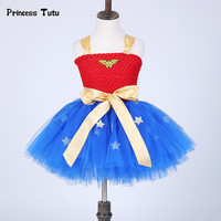 Summer Baby Girl Tutu Dress Wonder Woman Toddler Costume Birthday Dresses For Cosplay Party Superman Costume