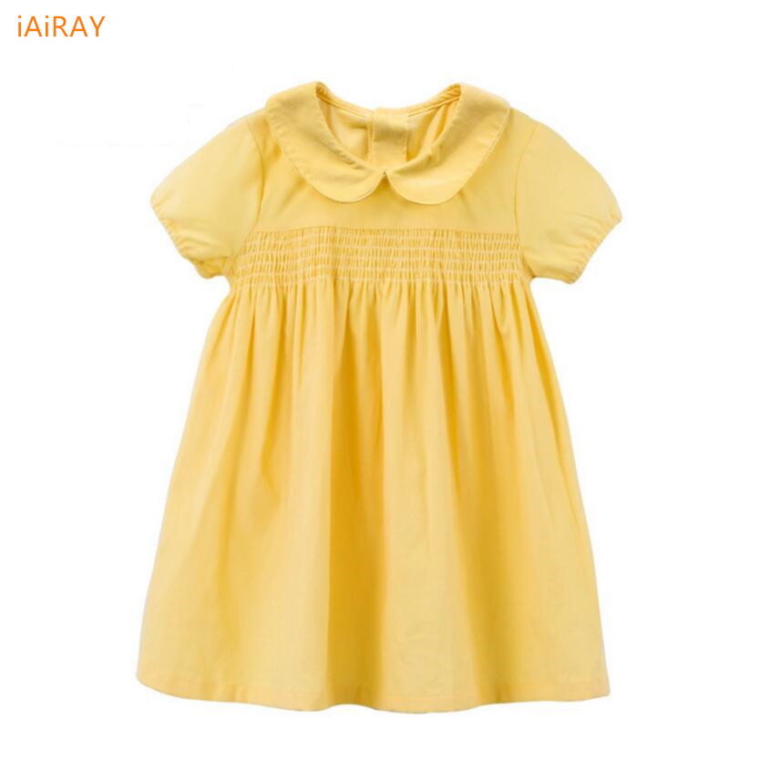 2017 summer style yellow princess dress girl casual loose cotton dress kids party dresses for girls costume children clothing summer seaside girls dresses children korean style clothing big girl casual striped costume kids cotton clothes junior vestidos