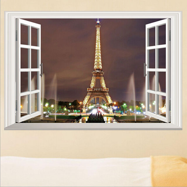 3D Window Paris Eiffel Tower Wall Stickers Art Vinyl Decal Mural Decor DIY  Home Decoration Accessories