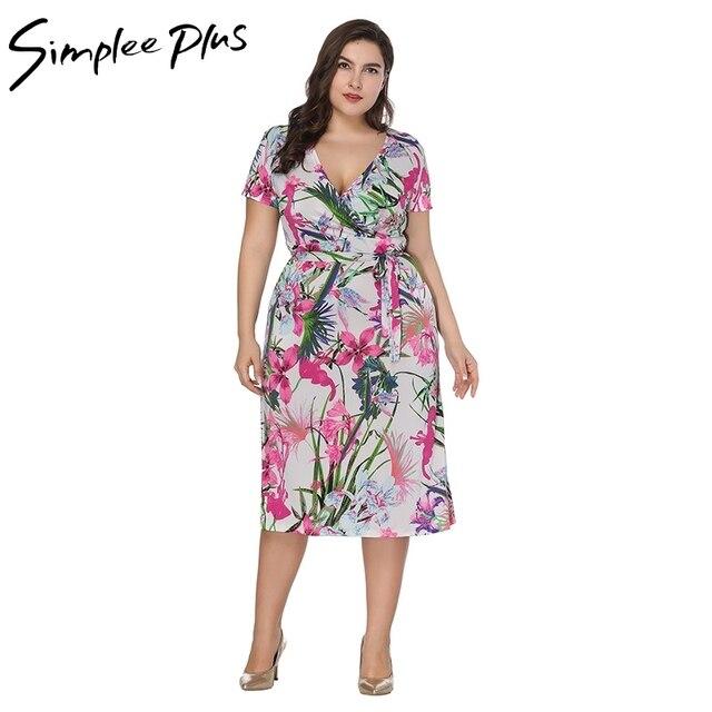 Simplee plus floral print plus size dress deep v neck women summer dress  fashion large size party dress felame vestidos XXL 4XL e7e59a958138