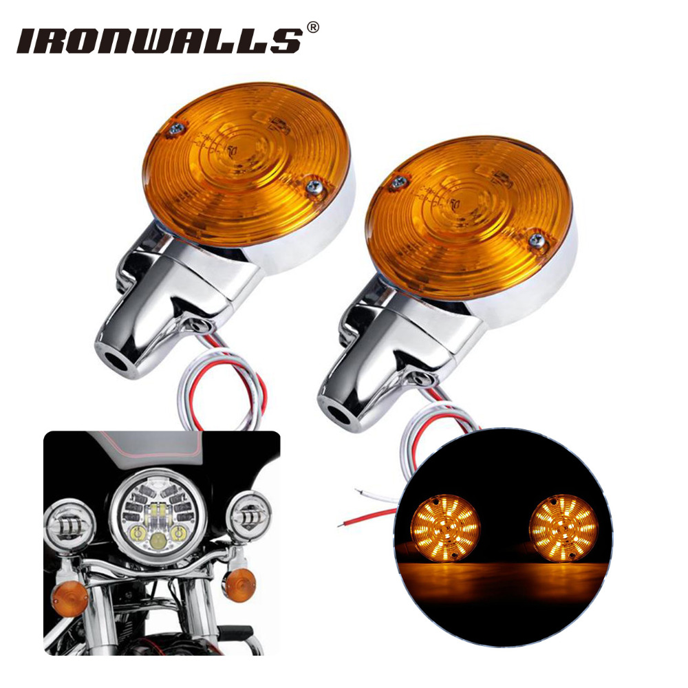 Ironwalls Motorcycle Turn Signals Amber Light Blinker For Harley Sportster Dyna Softail Electra Glide Road King Street Touring