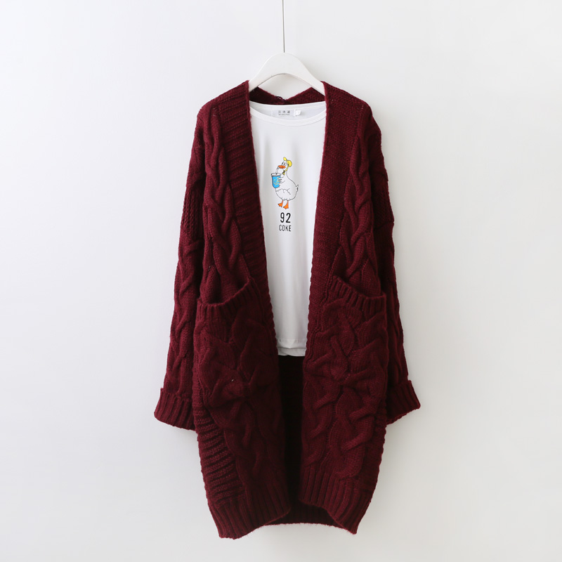Knitted purple Black Sleeve Cardigan Pink Women Long Casual Spring 2017 Green Winter Female red Wine Sweater Autumn aapwUqr