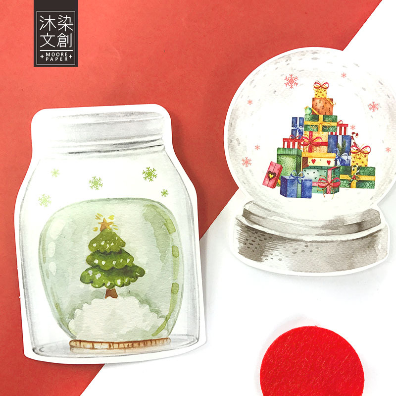 Christmas Post Card 30pcs/pack Christmas Crystal Ball Gift Cards Kawaii Letter Pads Inregular Design Wish Cards