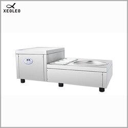 XEOLEO Desktop Fried ice machine 220V Desktop round Pan Fried Ice Cream Machine Commercial Ice Yogurt Roll with 4 Pots 750W