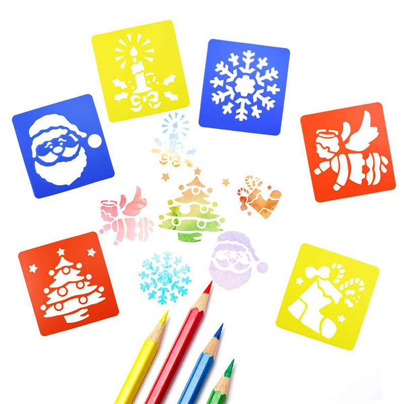 6 Pcs/set New Plastic DIY Painting Template Boards Preschool Education Creative Toys For Children School Drafting Supplies