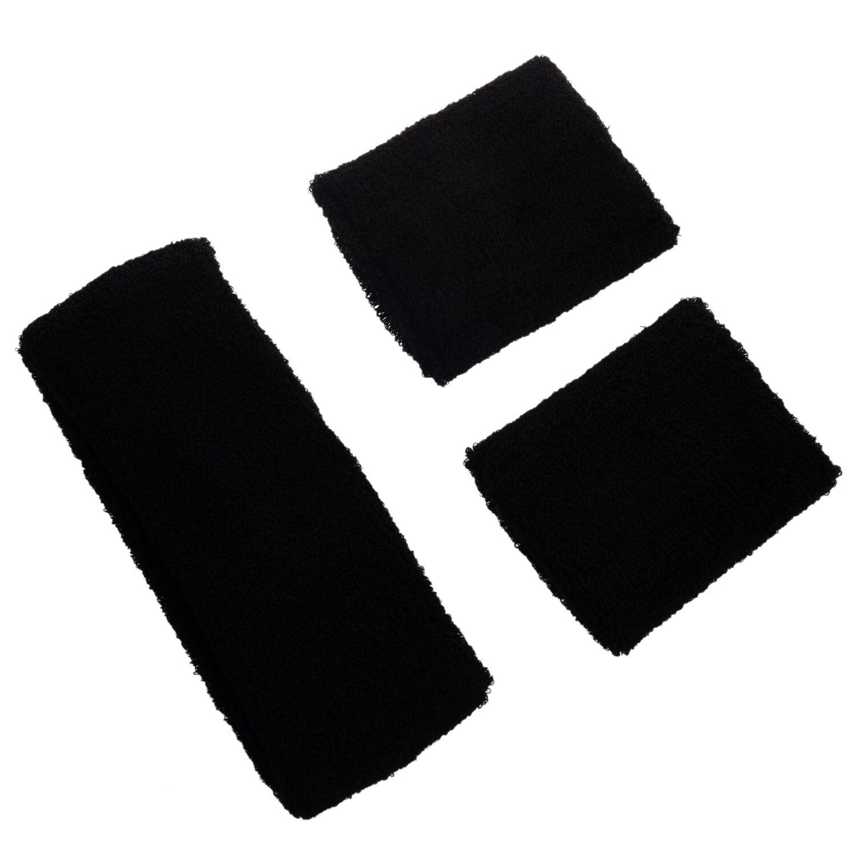 Black Retro 80s Head Wrist Sweatband Set