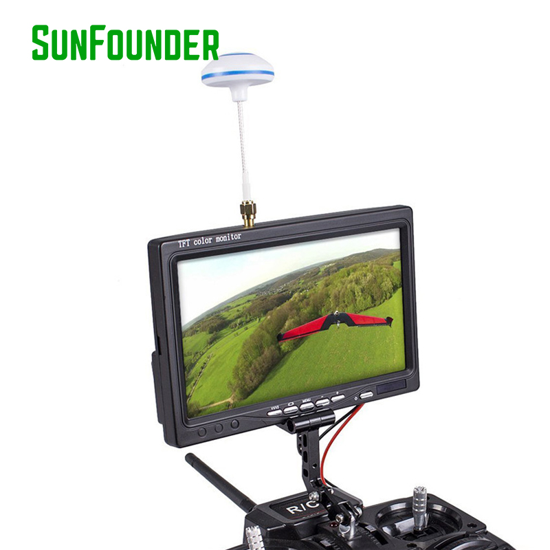 FPV TFT LCD Color Monitor 800*480 7 Inch Wireless Receiving 5.8G 48CH AV1/AV2 Multiple OSD for RC Drones Quadcopter Dron 2015 100% brand new trade edition sharp vision 7 inch 800 480 lcd fpv monitor with sunshade for rc quadcopter