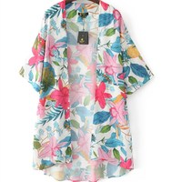 2017 New Tropical Style Women Batwing Sleeve Kimono Blouse Floral Printed Cardigan Irregular Open Stitch Vintage