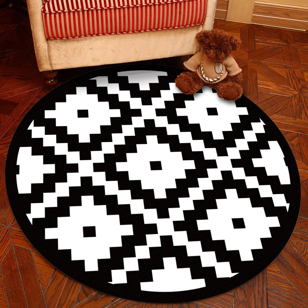 Rayuan Nordic Style Black And White Grid Round Rug