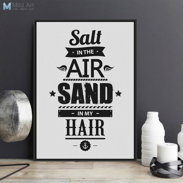 Black white motivational sea beach quote a4 large poster prints life picture canvas painting no frame