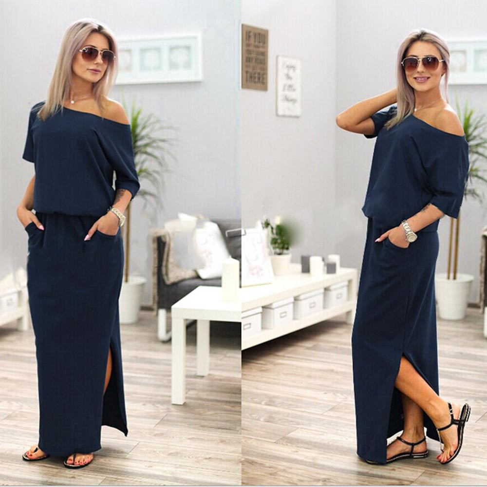 ELSVIOS 2017 Women Sexy Long Maxi Summer Dress Side Split Loose Dress Short Sleeve Evening Party Dress with Pocket Vestidos 1