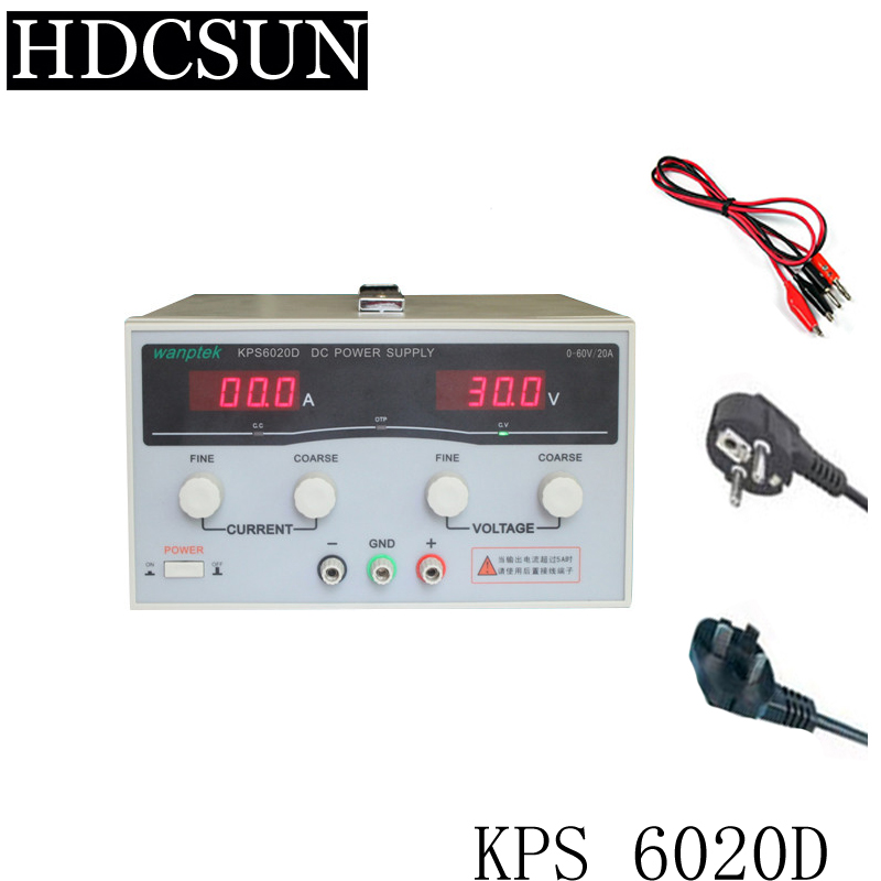 KPS6020D High precision High Power Adjustable LED Dual Display Switching DC power supply 220V EU 60V/20A kps6010d high precision high power adjustable led dual display switching dc power supply 220v eu 60v 10a