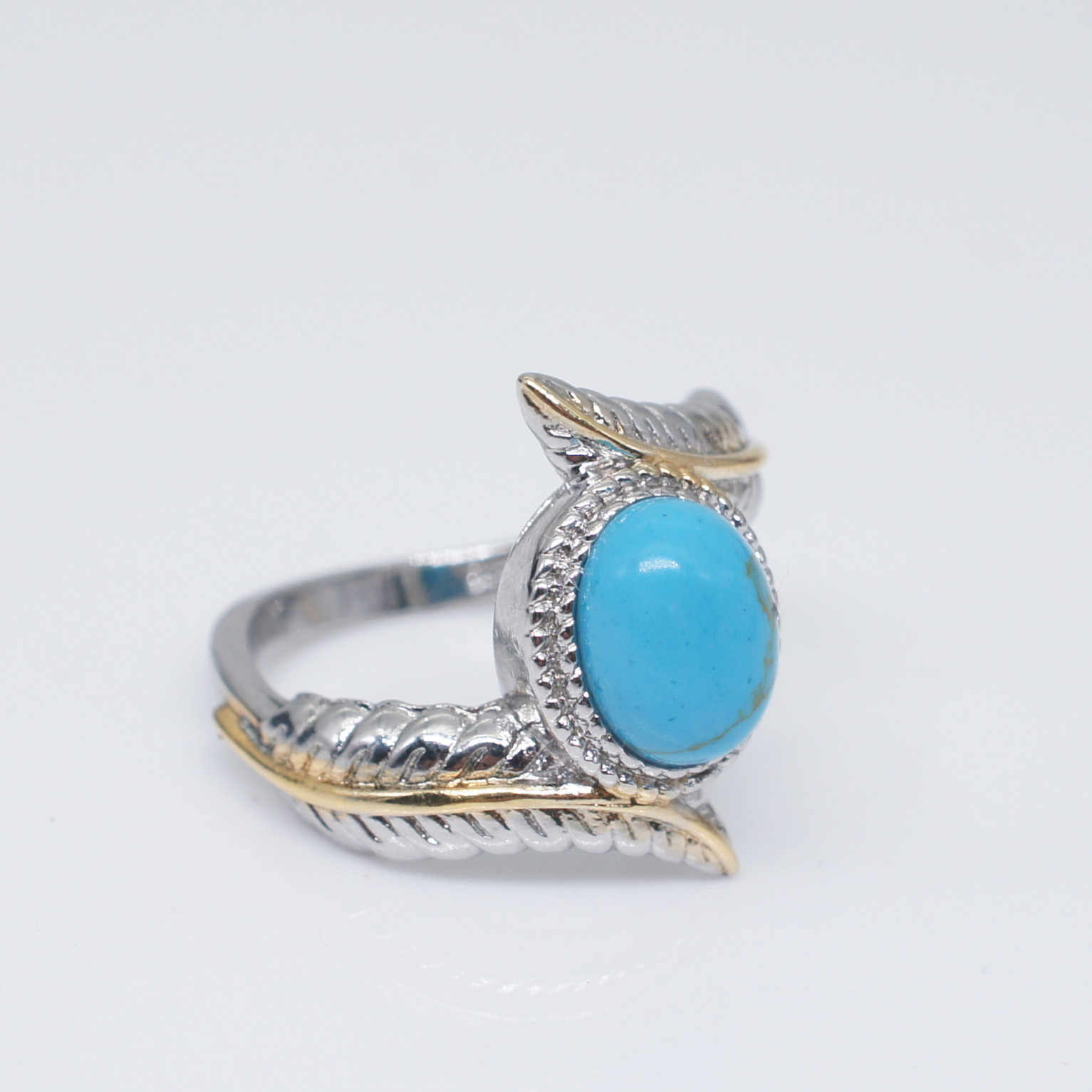 ใหม่ VINTAGE Bohemian ชาติพันธุ์ Big Blue Finger แหวนเงินสี Leaf รูปแบบ Turquoise งานแต่งงานแหวน Bijoux ของขวัญ