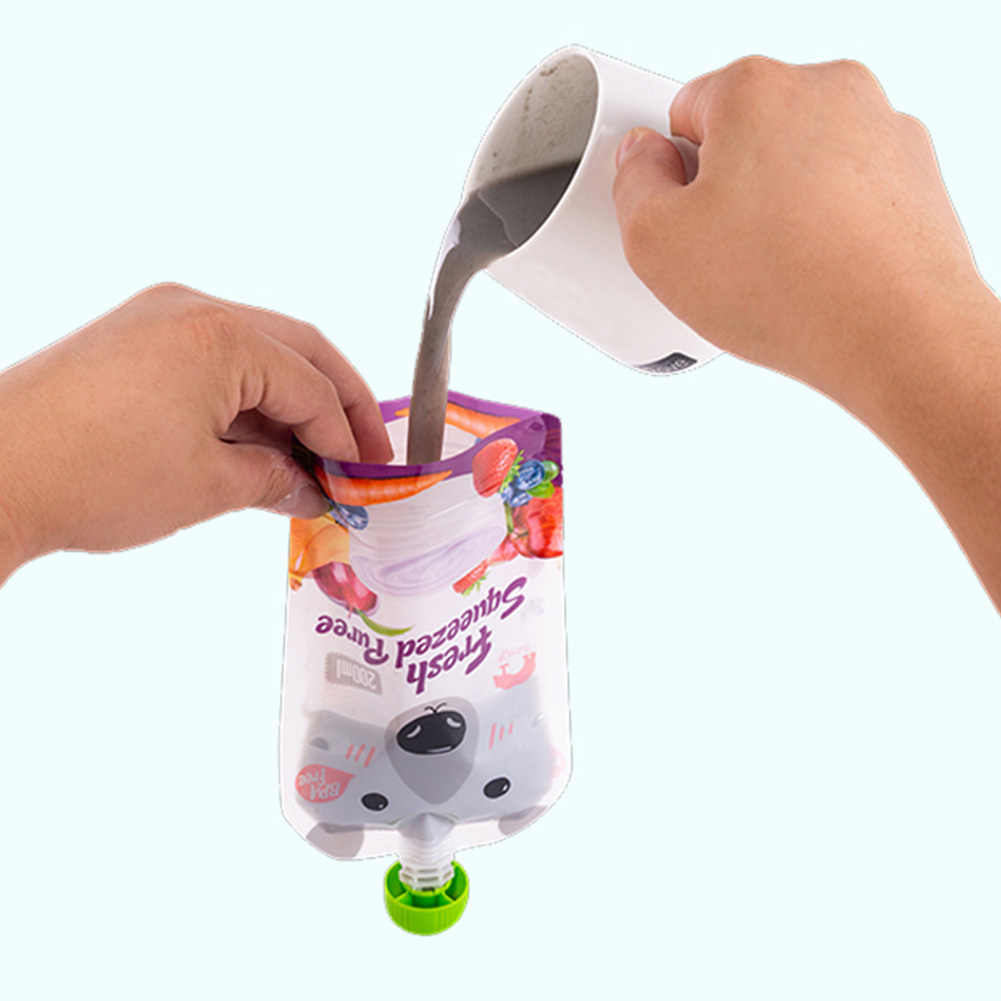 8pcs Double Zipper Organizer Nozzle Travel Easy Clean Waterproof Reusable Home Non-spilled Baby Feeding Space Saving Food Pouch