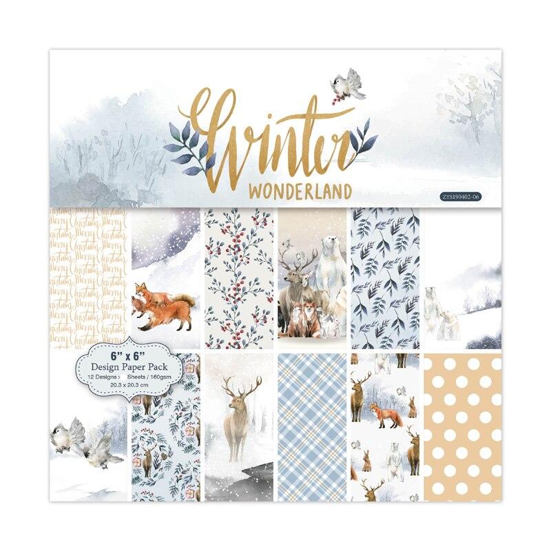 KLJUYP 12 Sheets Winter Wonderland Scrapbooking Pads Paper Origami Art Background Paper Card Making DIY Scrapbook Paper Craft