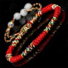 цена на High Grade Lucky weaved bracelet Handmade Buddhist Knots Rope Bracelet Tibetan Infinity Charm Jewelry